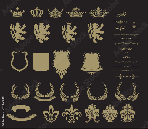 Fotografia, Obraz Set of heraldic symbol