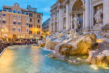 Beautiful Trevi Fountain At Evening, Rome, Italy