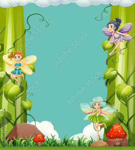 plakat Scene with fairies in the garden