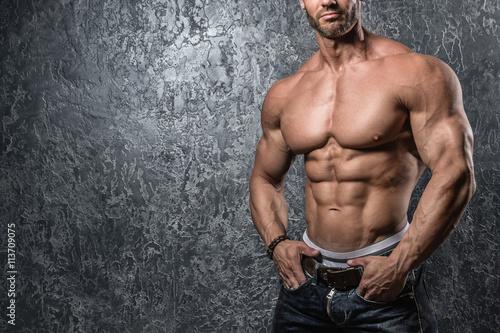 Fotografie, Obraz  Muscular male torso