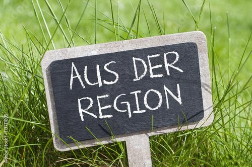 Schild Tafel mit Aus der Region Fotobehang