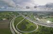 Aerial view of expressway in bangkok city thailand, expressway,