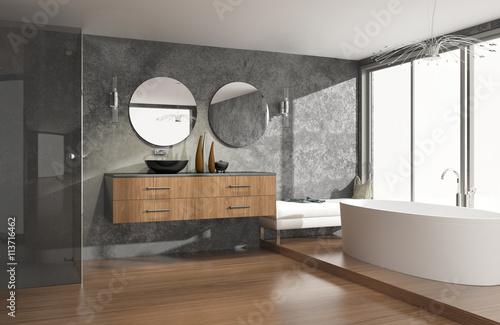 Carta da parati  Luxuriöses modernes Badezimmer mit freistehender Badewanne
