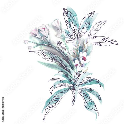 Poster Grafische Prints Watercolor Exotic Plants