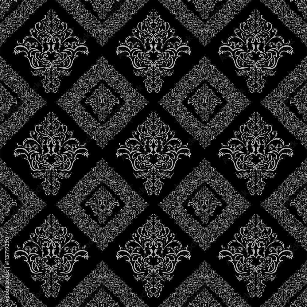 Seamless damask floral geometric Wallpaper -  gray and black colors