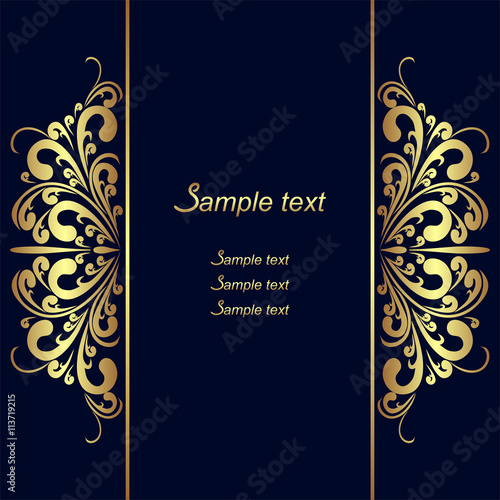 Navy Blue Background With Golden Royal Borders Buy This