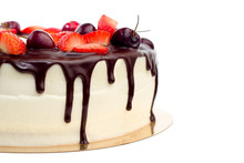 Delicious Cake With Cherries Strawberries And Chocolate Cream