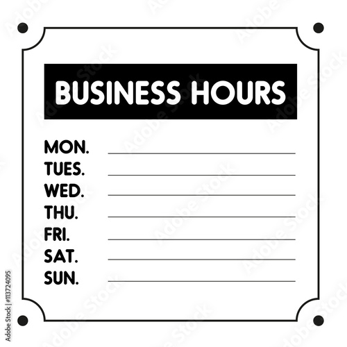 business hours sign vector template buy this stock. Black Bedroom Furniture Sets. Home Design Ideas