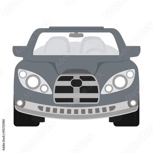 Staande foto Cartoon cars Grey automobile ahead. Transportation icon. vector graphic