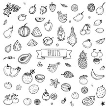 Hand Drawn Doodle Fruits Icons...