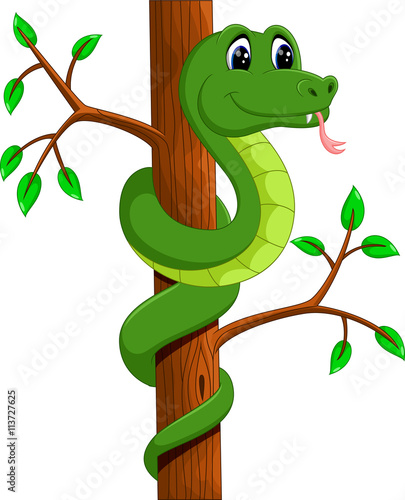 Photo Stands Draw illustration of Cute green snake cartoon