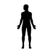 Male human body with head turned to side flat icon for apps and websites