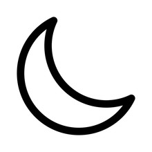 Crescent Moon Or Night / Nighttime Line Art Icon For Apps And Websites