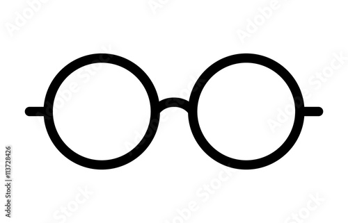 Fényképezés  Round glasses or reading eyeglasses line art icon for apps and websites