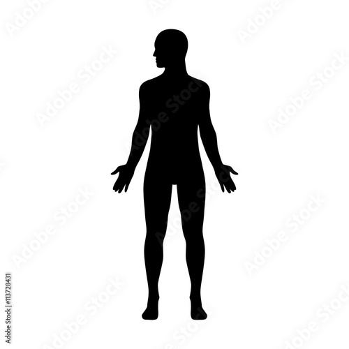 Photo Male human body with head turned to side flat icon for apps and websites