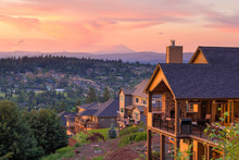 Sunset View From Deck Of Luxury Homes