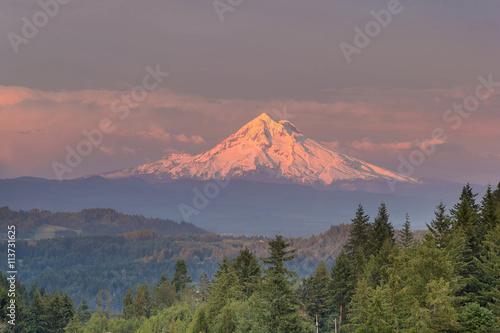 Mount Hood Alpenglow Sunset плакат