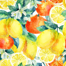 Watercolor Mandarine Orange And Lemon Fruit Branch With Leaves Seamless Pattern