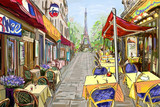 Fototapeta Fototapety Paryż - Street in paris - illustration concept