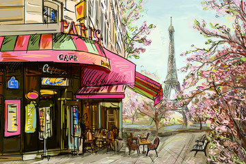 Street in paris - illustrat...