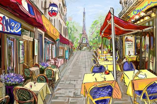 ulica-w-paris-ilustracyjny-pojecie