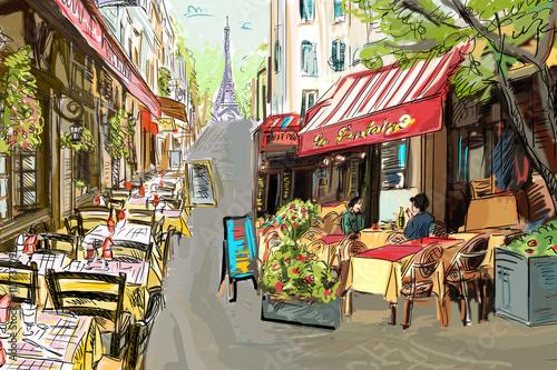 Foto auf AluDibond Gezeichnet Straßenkaffee Street in paris - illustration concept