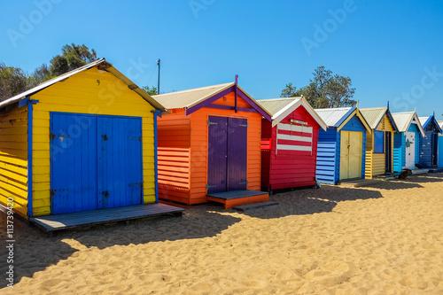 Poster Oceania The colorful landmark of Brighton Beach in Melbourne