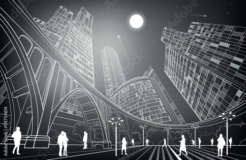 Big bridge, night city on background, industrial and infrastructure illustration, white lines landscape, people walk on the square, dark version, vector design art