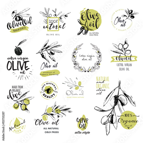 Set of hand drawn watercolor stickers and badges of olive oil Canvas Print