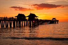 Sunset At The Naples Pier In N...