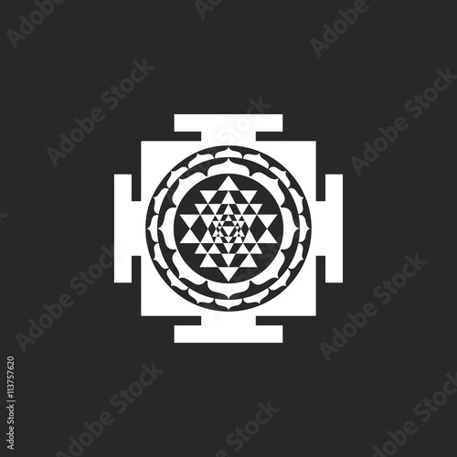 Sri Yantra sign simple icon on background Fototapet