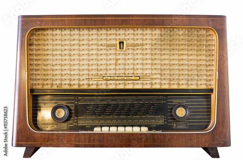 Photo  Altes DDR Radio Rundfunkempfänger Old Radio Röhrenradio Radioskala Dampfradio