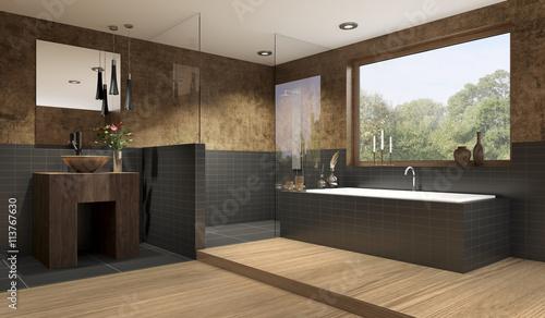 Edles graues Bad mit Fliesen und Holzoptik – kaufen Sie diese ...