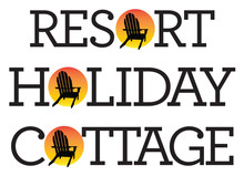 Adirondack Chair Holiday Graphics. Vector Illustrations Of Holiday, Vacation, Resort, Cottage Words With Adirondack, Muskoka, Beach Chair And Setting Sun.