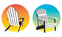 Adirondack Chair Sunset Graphics. Vector Illustrations Of Two Different Adirondack, Muskoka, Beach Chairs And Setting Suns.