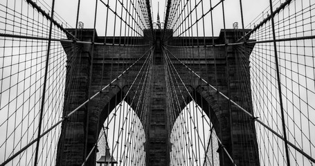 Panel Szklany Brooklyn Bridge. Black and White