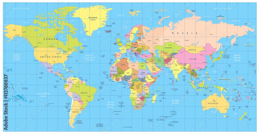 Szczegolowa Polityczna Mapa Swiata Kraje Miasta Obiekty Wodne