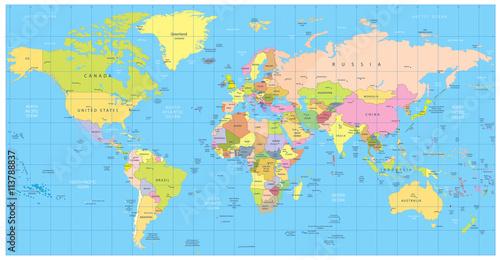 In de dag Wereldkaart Detailed political World Map: countries, cities, water objects