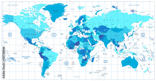 Detailed World Map in colors of blue