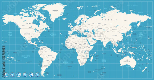World map navy blue colors and glossy style globes