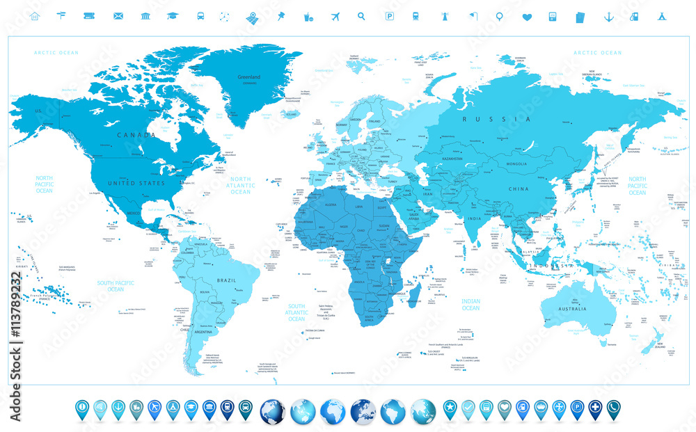 World map continents in colors of blue and glossy globes with ma ...