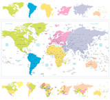 World Map with continnets in different colors isolated on white