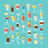 Cocktail alcohol mixed drink icons for menu, web and graphic des