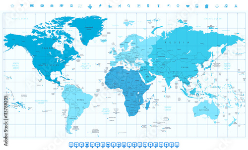World map with different colored continents in colors of blue