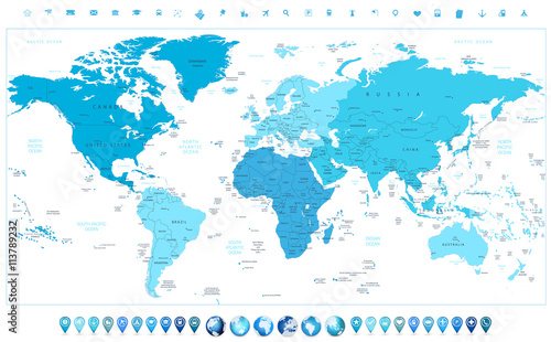 Photo World map continents in colors of blue and glossy globes with ma