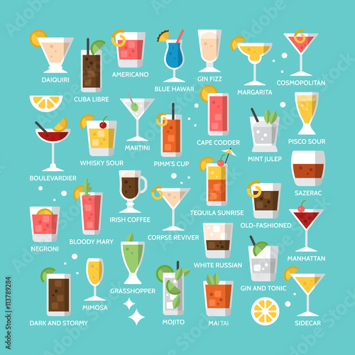 Cocktail alcohol mixed drink icons for menu, web and graphic des Wall mural