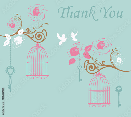 Foto op Canvas Vogels in kooien vector illustration of thank you card with birds and cages