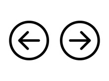 Left And Right, Previous And Next Or Back And Forth Round Arrows Line Art Icon For Apps And Websites
