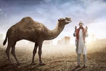 Man Praying On The Desert