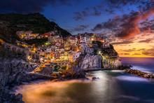 Sunset Over Cinque Terre, Mana...